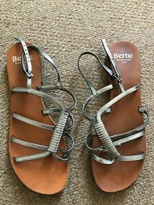Bertie / Selfridges Silver leather sandals, Size 40 UK 7