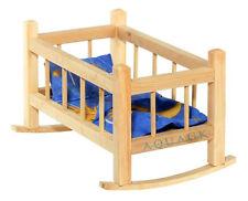 Puppenwiege Puppenwippe Puppenmöbel Holz mit Bettwäsche Puppenbett 33cm NEU