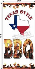 2' X 4' Vinyl Banner Texas Style Barbecue Bbq Vertical New Design!