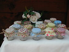Set of 10 Shabby Chic Mini Jam Jars Wedding Favours Vintage Style Jam Jar