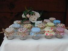 Set Of 10 Shabby Chic Mini Jam Jars Wedding Favours Vintage Style Jar