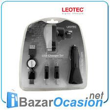 Cargador USB Charger Set Leotec AC 200V / Car Adapter / Mini 4 pin - 5 pin New