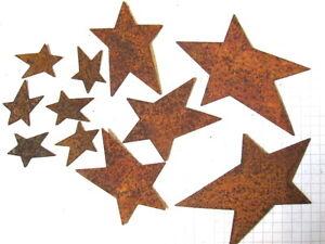 Rusty Tin FOLK ART Stars Embellishments  Choice of Size