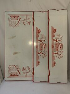 Vintage ENAMEL TABLE TOP w/ Leaves porcelain Red White Asian Motif country 40's