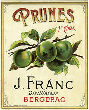 """""""PRUNES 1er CHOIX J. FRANC Bergerac"""" Etiquette-chromo originale fin 1800"""