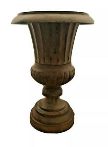 "Andrea by Sadek Brown Roman Metal Pedestal Planter Urn Vase 12393  11"" x 8"""