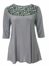 Ladies Sexy Lace Shoulder Stretch Silver Grey Tunic Dress / Long  *LICK*