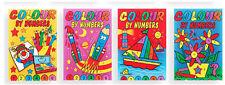 4x Mini A6 Colour By Numbers Libro Di Attività Per Bambini
