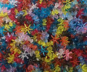 1,000 Pcs Assorted Color Translucent 12mm Starflake Sunburst Plastic Craft Beads