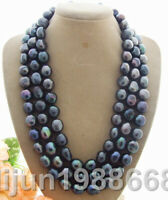 """Rare Big 12-13MM black Baroque freshwater Cultured Pearl Necklace 50"""""""