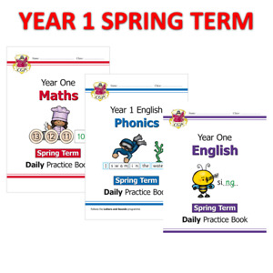KS1 Year 1 Daily Practice Book Maths Phonics and English 3 Books Spring Term CGP