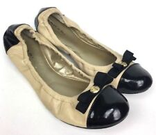 TAHARI Gibson Beige Leather Black Patent Leather Bow Ballet Flats Women's 7.5M