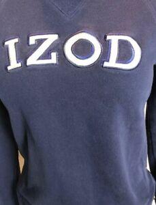 Izod Sweatshirt Women's S/P Spellout  Cotton  Blend  Vtg 90s (441L)