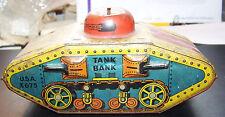 Antique Tin Litho WW1  Army Tank Bank
