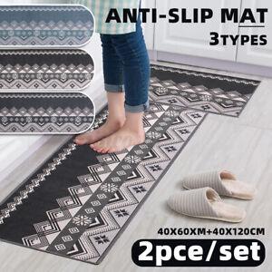 2PCS Kitchen Floor Carpet Area Rug Non Slip Bathroom Absorbent Doormat Pad Mat