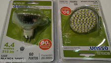 BOMBILLA MR16 230V 60 LED SMD 4,4W LUZ Blanca 6400k 60º, Dicroica 50mm