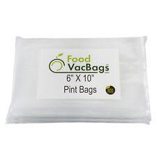 100 6X10 PINT FoodVacBags Vacuum Sealer Bags for FoodSaver machines Embossed Bag
