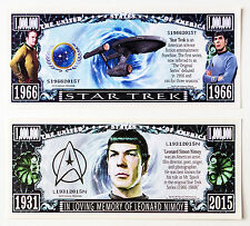 Set of 2 diff. US fantasy paper money Star Trek