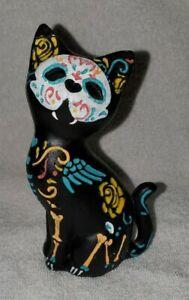 "Handpainted Ceramic Black Cat Day Of the Dead Halloween Figurine 5 1/2"""