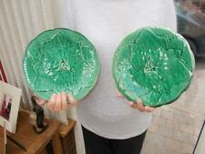NICE PAIR OF FRENCH MAJOLICA LEAF SALAD PLATES CREATION PRIMAFLEUR GIEN NICECOND