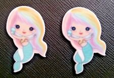 2 X Rainbow Mermaid Planar Flatback Resins Flat Back Craft Hair Bow Resins