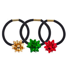 Lux Accessories Black Hair Elastic Ties Green Gold Red Holiday Gift Ribbon Set