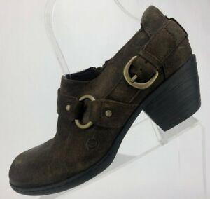 Born Tanya Clogs - Brown Suede Side Zipper Casual Heels Women's Size 6.5