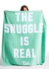 Victoria's Secret Pink Sherpa Blanket .The Snuggle Is Real Mint White Soft 72x60