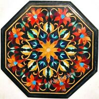 Hand Crafted Floral Art Inlay Marble Table Top Royal Patio Coffee Table 14 Inch
