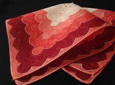 #5589🌟Vintage 40s Floral Geometric Pink & Burgundy Pocket Handkerchief