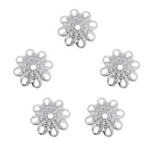 5 Pcs Sterling Silver Beautiful Bead 8mm Flower Bead Caps for Jewelry Making