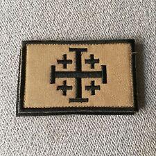 Embroidered Jerusalem Cross Crusader JIHAD Tactical Morale Army Hook Loop Patch