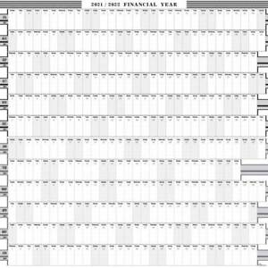 2021 - 2022 FINANCIAL YEAR  WALL PLANNER - CALENDAR /PERS/BUS 8 COLOURS 5 SIZES