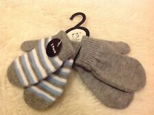 2 pairs grey blue white striped warm knitted Toddler Baby scratch mittens gloves
