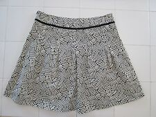 Ann Taylor LOFT Black/White Cotton Pleated Above Knee Skirt 10P Perfect Cond.!!