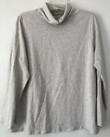 NEW PURE J. JILL 1X Relaxed Turtleneck Pima Cotton/Spandex L/S Light Gray