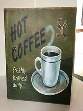 "Decorative Cloth Covered Wood Box ""Hot Coffee 5 Cents"" -14.5"" x 10.5"" x 3.25"""