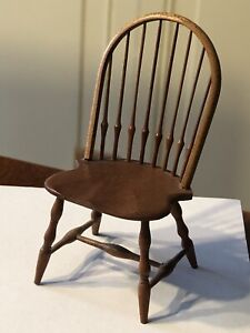 Artisan William S Clinger Dollhouse Miniature Wooden Curve Back Windsor Chair