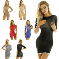 Women's Sexy See-through Short Sleeve Bodycon Mini Dress Party Cocktail Dresses