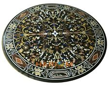 "36"" Round Marble Dining Table Top Black Scagliola Inlay Living Home Decor B303"