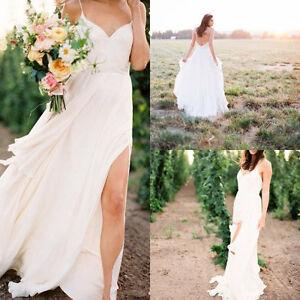 White/Ivory Chiffon Spaghetti Strap Beach Wedding Dress Bridal Gown Custom Size