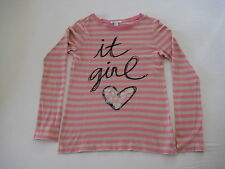 "GAP Kids nude/pink striped cotton girl's long sleeved T-shirt w ""it girl"", 13 y."