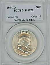 1954-D Franklin Half Dollar Graded MS64 FBL By PCGS