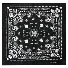 Black Bandana with Double-sided White Skull Design Head Scarf - By TRIXES