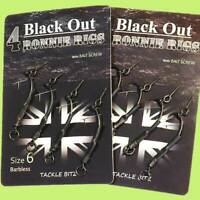4 Fishing Tackle BLACK OUT Ronnie Rigs Ready Made Teflon Coated Hooks Bait Screw