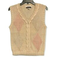 Vintage Hand Knit Pickett and Smith Sweater Vest Womens Medium Ivory Pink Green