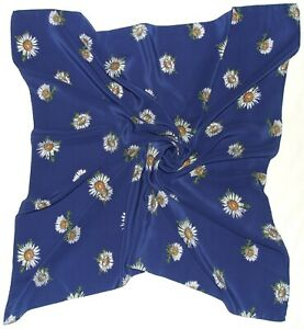 Swiss CHRISTIAN FISCHBACHER Designer FLORAL Blue White Crepe Silk Scarf