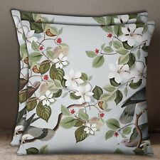 S4Sassy Bird & Floral Print 1Pair Light Cotton Poplin Square Cushion Cover Throw