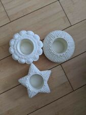 3 PartyLite Sea Drifters Bisque Tealight Candle Holders - No Box - Unused