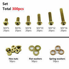 300pcs M3 Brass Phillips Pan Head Screws Bolt & Hex Nuts Washers Assortment